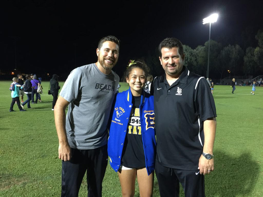 Verbal commitment to Long Beach State on soccer scholarship (Pictured with Asst Head Coach Jeff Joyner on left and Head Coach Mauricio Ingrassia on right)